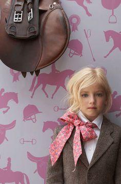 "Adorable ""horsey"" wallpaper for a little girl's room!"