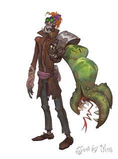 A Robot Guy with a Monster Problem for an Arm, James Martin on ArtStation at https://www.artstation.com/artwork/kGEJz