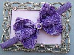 Headband bow rosette ribbon lavenderbaby by SugarBeeBowtique, $9.00