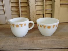 Cream and Sugar Set Dishes Retro Pyrex Corning Ware by TheCookieClutch on Etsy, $24.00