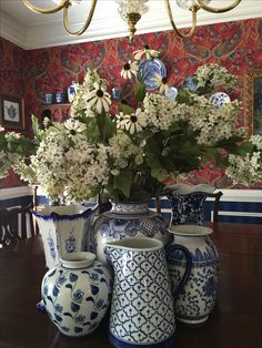 Blue and White Porcelain cluster on dining room table!