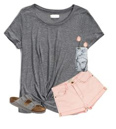 """""""shoutout!!⤵️"""" by mimichavi ❤ liked on Polyvore featuring Abercrombie & Fitch, Current/Elliott, Kendra Scott and Birkenstock"""