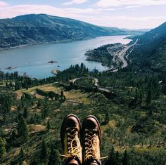 An Epic View Of The Columbia River Gorge Through A Pair Danner Boots Photo