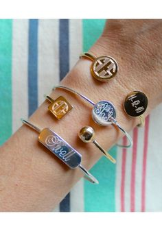 Oh-so-posh personalization with the #Monogram Cuff Bracelet Collection {gold or silver plate} by @SwellCaroline!