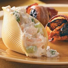 Seafood & Cream Cheese Stuffed Shells. #food #seafood