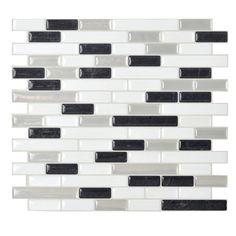 "Smart Tiles Mosaik 10.25"" x 9.13"" Mosaic Tile in Black & White"