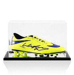 Wayne Rooney Signed Football Boot Nike Hypervenom Yellow & Purple - In Acrylic D - Autographed Soccer Cleats