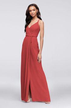 a976c7087a17 Double-Strap Long Georgette Bridesmaid Wrap Dress Style F19755, Ballet, 26. Davids  Bridal ...