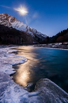 Moonlight over the frozen Shotover River, Queenstown, New Zealand