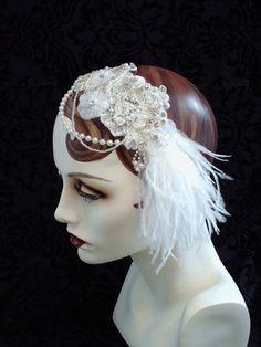 Snow White Bridal Headband 1920's Flapper by CarolynnRedwineGeer