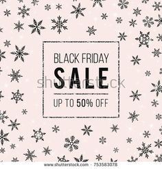 Black-Friday-Sale Vector Banner. Stylish winter template with black snowflakes, shiny stars, sparkles, silver glittering frame on soft pink backdrop. Trendy colors. Design for flyer, discount card