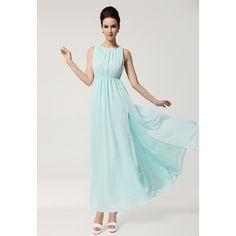 Open Back Scoop Neck Sleeveless Chiffon Bohemian Style Solid Color Women's Maxi-Dress, SKY BLUE, L in Bohemian Dresses   DressLily.com