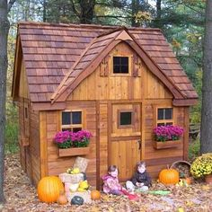 Nicer than my house! Outdoor Living Today Laurens Cottage - Includes LoFeet - 4 Functional Windows Dutch Door - Play Houses & Play Tents - Play - Kid's Cedar Playhouse, Outside Playhouse, Backyard Playhouse, Build A Playhouse, Playhouse Ideas, Girls Playhouse, Wood Flower Box, Flower Boxes, Luxury Playhouses