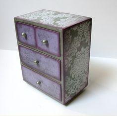 Vintage Romance Four Drawer Jewelry Box Trinket Box Treasure Chest