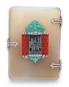 Art Deco agate, turquoise and diamond case.. The rounded rectangular beige agate case, centring upon a rock crystal plaque, etched with a female figure, bordered by carved coral and turquoise foliate panels, with single-cut diamond accents, to the trefoil diamond hinges and clasp, mounted in platinum, with French assay mark, ca.1920.