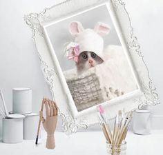Cat print nursery illustration wall art home decor, Baby gift idea,Pink roses,animal,pet portrait ,Kitten kids room poster, house decoration