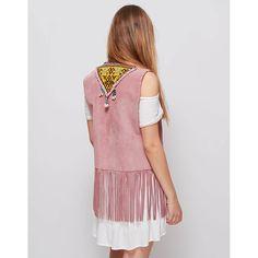 Chalecos rosa corto. Con motivos bordados étnicos. d324b517ce49