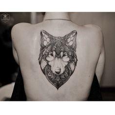 Cover up #wolf #blacktattoo #blackndark #onlyblackart...