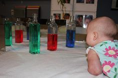 several ideas for water play for infants. great sensory stimulation. #babies