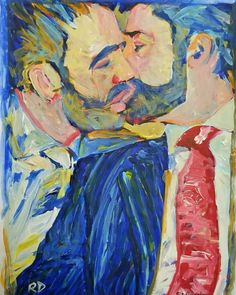 """Lunch was amazing. Thank you"" painting by RD Riccoboni. #gayculture #gayillustration #queerart #beardstyle #beardporn #gayboyswithbeards #beardedartist #gaystagram #gaystyle #gaykiss #gaycouplesinart #gaycouple"