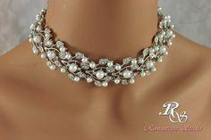 Pearl bridal necklace vintage style wedding by RomantiqueStudio