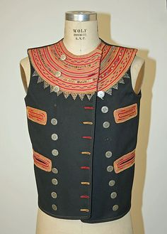 Vest Date: late 19th century Culture: French (Breton) Medium: wool, glass beads, metal pailettes