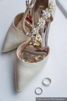 Wedding shoes - beige, brown, taupe, flowers, rhinestones, close toe, heels {Eugene Novar Photography}