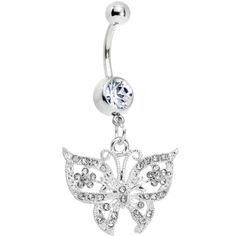 Radiant Flutter Clear Butterfly Belly Ring