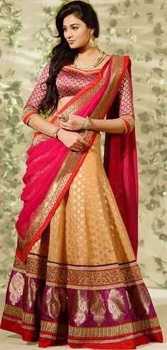 USD 135.89 Beige Banarasi Silk Wedding Lehenga Choli 43005