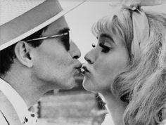 Anna Karina and Jean-Luc Godard in Cléo de 5 à 7 / Les fiancés du pont MacDonald directed by Agnés Varda, 1961