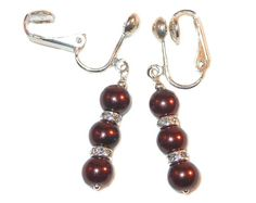 CHOCOLATE Pearl Earrings Sterling Silver Beaded Faux Glass
