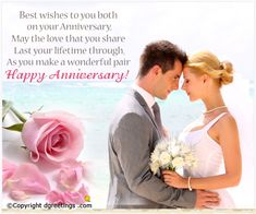 A perfect anniversary greeting card for a perfect couple. Anniversary Wishes For Parents, Happy Anniversary My Love, Happy Wedding Anniversary Wishes, Anniversary Message, Anniversary Greeting Cards, Hymen, Wedding Quotes, Sweet Couple, Perfect Couple