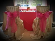 Champagne chair covers with fuchsia sashes Chair Covers, Sash, Champagne, Chairs, Success, Party, Home Decor, Chair Sashes, Decoration Home