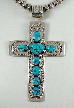 Authentic Native American Navajo Turquoise Sterling Silver large Cross pendant