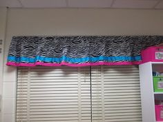 Love the zebra curtains! Zebra Curtains, Valance Curtains, Teaching Kindergarten, First Grade, Classroom Decor, Ava, Decorations, Home Decor, Decoration Home