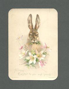 Unused and still in original envelopes. 3 x ESTATE FRESH. Vintage Postcards, Vintage Images, Rabbit Art, Easter Art, China Painting, Vintage Easter, Card Tags, Happy Easter, Decoupage