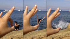 Gone with the flick of a finger! The forced perspective optical illusion that turns travel snaps into special effects masterpieces
