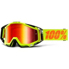 100% Racecraft MX Goggle Neon Yellow Mirror Red Lens Adult 50110-004-02