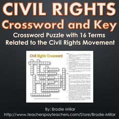 Civil Rights Crossword Puzzle and Key Terms and Clues) History Classroom, Teaching History, Social Studies Resources, Teaching Resources, Essay Starters, Virginia Studies, Jim Crow, Study History, Major Events