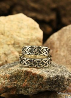 Diamonds and celtic knit wedding bands set by WeddingRingsStore. His and her celtic ring, Couple celtic sterling silver bands, Celtic knot matching wedding rings Matching Wedding Rings, Celtic Wedding Rings, Womens Wedding Bands, Wedding Band Sets, Unique Diamond Engagement Rings, Vintage Engagement Rings, Silver Bands, Tungsten Mens Rings, White Topaz Rings