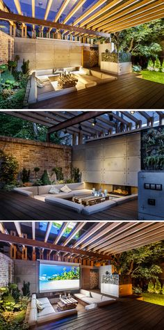 SVOYA Studio have designed a multi-function lounge area in Dnepropetrovsk, Ukraine, that features sunken seating and a drop-down projection screen for watching movies. sunken seating in deck. room for movie screen. Outdoor Lounge, Outdoor Rooms, Outdoor Living, Outdoor Decor, Outdoor Cinema, Lounge Areas, House Goals, Backyard Patio, Wood Patio
