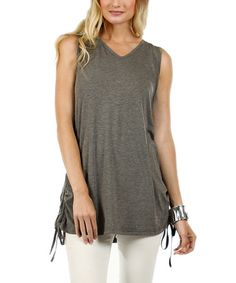 Another great find on #zulily! Gray Side-Tie Tunic by Simply Aster #zulilyfinds