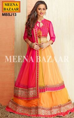 Create a lasting impression in the minds of the onlookers as you are dolled up in this Orange Yellow Net Jacket style Lehenga. Lehenga features elaborate decorations and a wide border with beautiful patterns of Gotta Patti with Resham thread embroidery, Kundan and Sarowski Crystals. Contrasting hemline patch adds essence to the lehenga beautifully. The Jacket style is entirely a different concept of bridal lehenga giving a spectacular style.