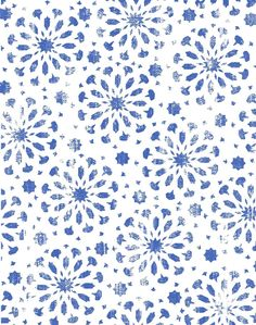 Moroccan Star Tile fabric - blue & white