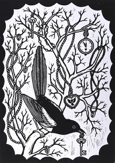 Two For Joy – lino print - Vogel Kunstjournal Inspiration, Art Journal Inspiration, Inspirational Artwork, Artwork Images, Art Pictures, Art And Illustration, Stencil Painting, Painting & Drawing, Bird Graphic