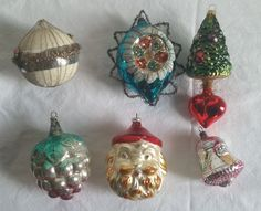 ANTIQUE VICTORIAN CHRISTMAS ORNAMENTS HAND BLOWN SANTA TREE POLAND GERMANY