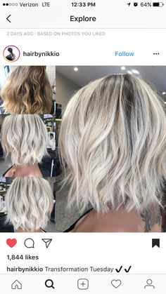 Here's Every Last Bit of Balayage Blonde Hair Color Inspiration You Need. balayage is a freehand painting technique, usually focusing on the top layer of hair, resulting in a more natural and dimensional approach to highlighting. Winter Blonde Hair, Ombré Hair, Ash Hair, Platinum Blonde Hair, Blonde Hair Cuts Medium, Hair Color And Cut, Hair 2018, Blonde Balayage, Hairstyles Haircuts