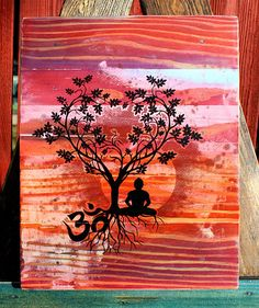 Hey, I found this really awesome Etsy listing at https://www.etsy.com/listing/214615233/bodhi-tree-om-upcycled-pallet-art-unique