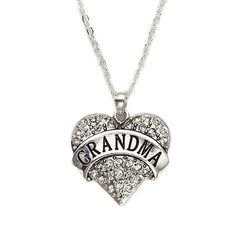 Grandma Pave Heart Charm Necklace