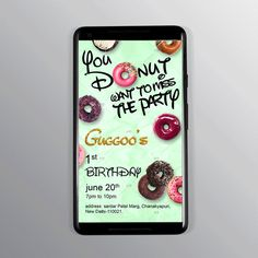 Adorable birthday invite for your little prince/princess. Perfect for donut lover. Any design wishes; Contact Us. Designer Swapnil- NIFT Alumni